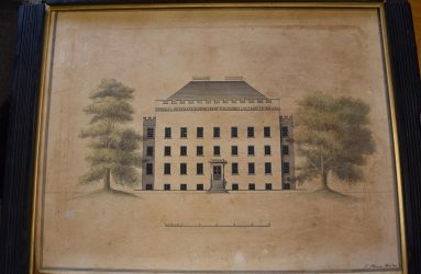 Drawing of Infirmary before conservation, discoloured with damaged frame