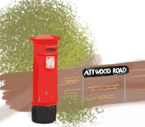 digital drawing of Attwood Road street name on wall by red post box