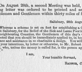 Letter sent to Noblemen and Gentlemen within 30miles of Salisbury requesting donations for new hospital from Earl Radnor