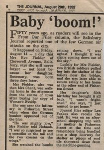 Article in which Mrs Fielder recalls events 50yrs on