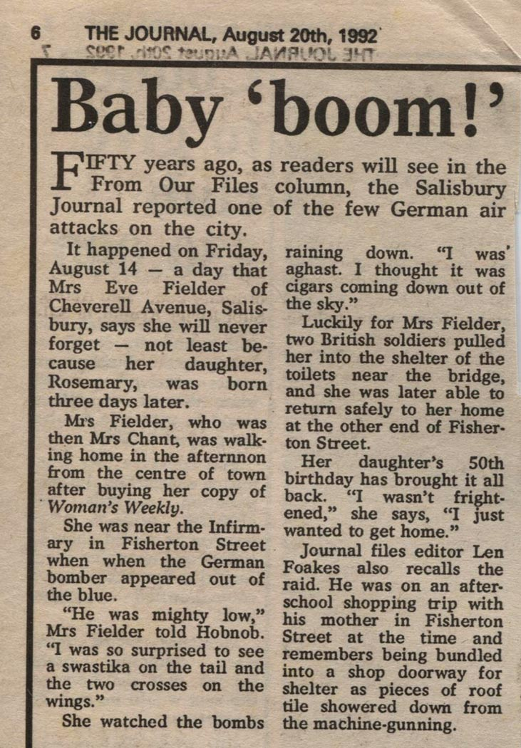Baby 'boom!' – Salisbury Journal article 1992