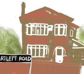 digital drawing of Bartlett Road street name in front of house