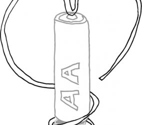 line drawing of motor battery sculpture - wire, AA battery and magnet