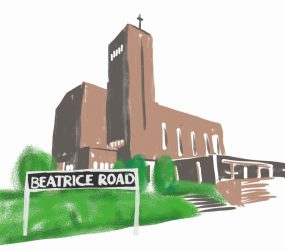 digital drawing of Beatriace Road street name in front of church