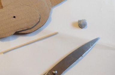 scissors, blu tack, wooden skewer, corrugated card