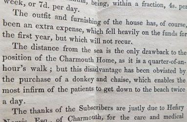 Extract of document describing purchase of donkey and chaise for patients to use to get to the beach