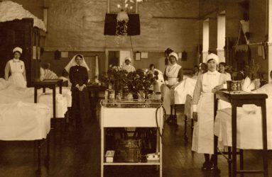 Nurses in a snow-covered Pembroke House