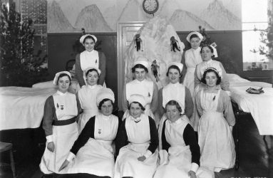 Nurses on Radnor Ward with snowy mountain decorations in background
