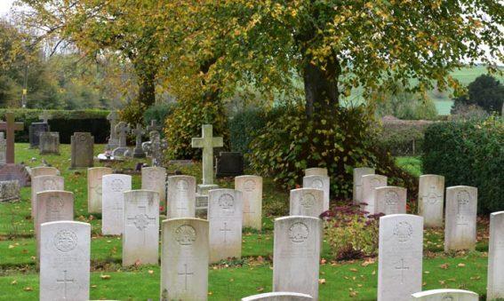 Gravestones in churchyard