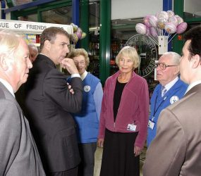 Duke of York with volunteers outside League shop