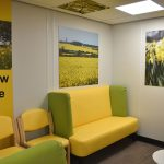 Eye clinic yellow zone, chairs with yellow vinyl and bright yellow flower artworks