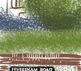digital drawing of Feversham Road street name on wall