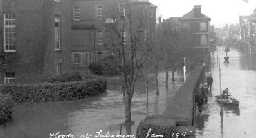 View shows flood water right in front of hospital and along Fisherton Street