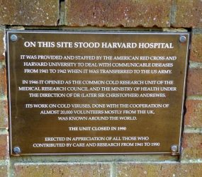 Plaque commemorating volunteers and staff of Common cold Unit