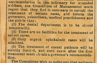 Newspaper notice posted by Louis Greville about Infirmary admissions