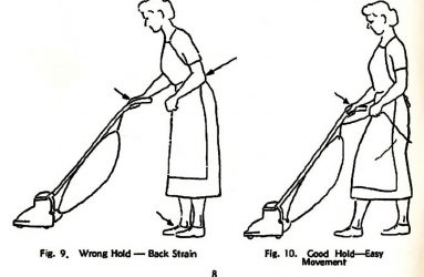 line drawing of woman using vacuum cleaner correctly and incorrectly, arrows highlight tension areas