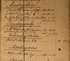 Cash book entries detailing donor and amount given