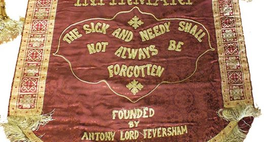 cloth banner with hospital motto 'the sick and needy shall not always be forgotten'
