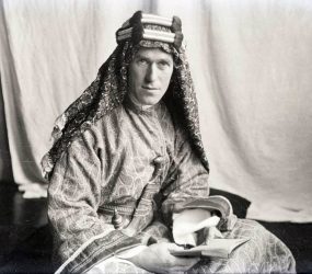 T. E. Lawrence dressed in Arabian robes