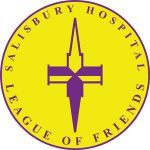 Yellow circle logo with purple spire