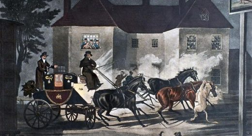 Painting showing a lioness attacking horses of mail coach outside a pub