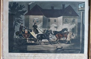 Painting showing a lioness attacking horses of mail coach outside a pub, description underneath painting