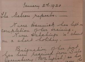 handwritten entry Jan 2nd 1920