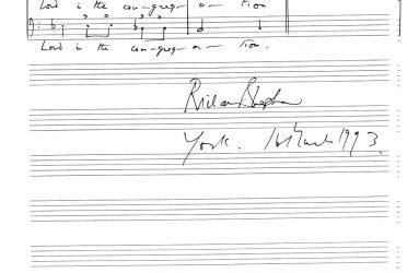 Handwritten sheet music signed Richard Shepherd