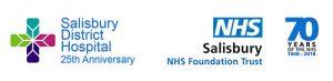 Salisbury District Hospital 25th anniversary logo, Trust logo and NHS70 logo