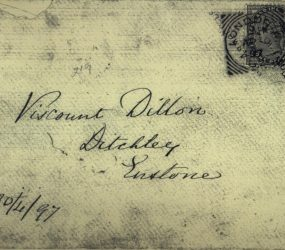 Envelope addressed to Viscount Dillon, Ditchely, with one penny stamp