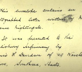 Note from Miss F Davidson presenting Florence's letter to Infirmary