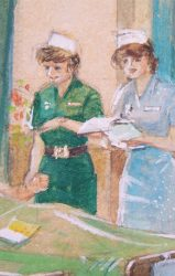 sketch of nurses with green or blue dress