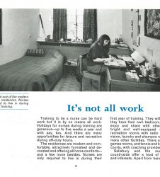 Student nurse pictured in her room with accompanying text