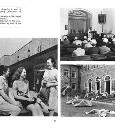 Nurses pictured in the shopping precinct, hospital chapel and nurses home garden