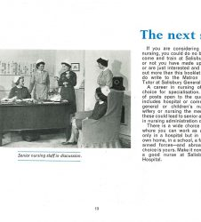 Senior nurses pictured in discussion with accompanying text