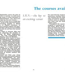 Text describing the courses available at the time - SRN