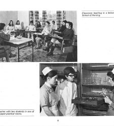 Student nurses pictured in lecture room and in practical teaching session