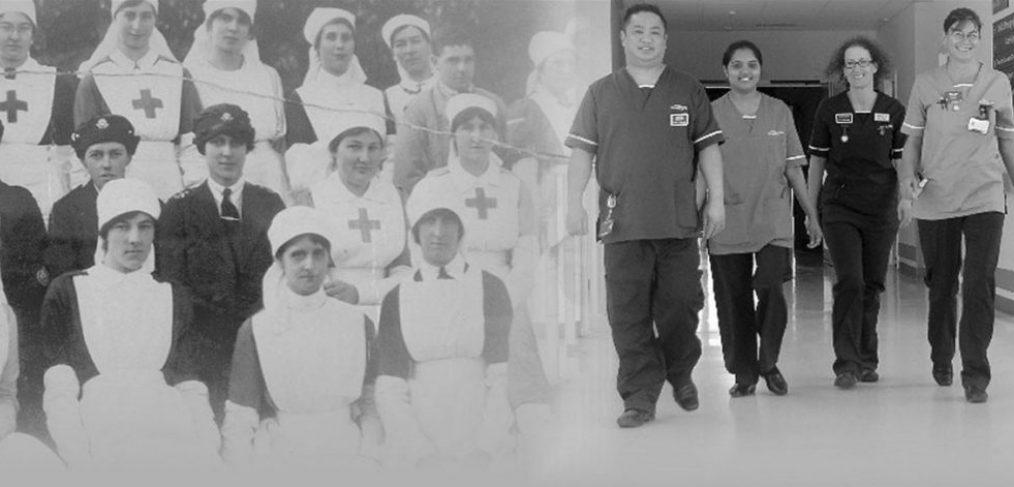 Nurses in uniform in WW1 and 2016