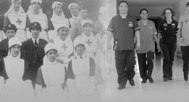 Nurses in uniform in WW1 and 2016