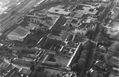 Aerial view of buildings that make up Old Manor Hospital