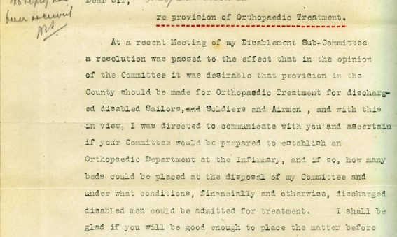 Letter asking if Infirmary prepared to establish an Orthopaedic department
