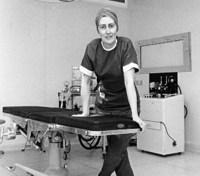 Jeanne Yates next to operating table