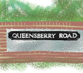 digital drawing of Queensberry Road street name on wall