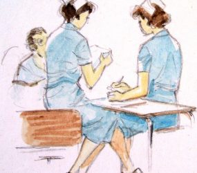 Painting of two nurses taking notes at patient's bedside