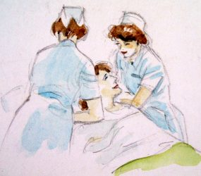 Painting of two nurses plumping up patients pillows