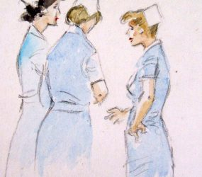 Painting of three nurses in group talking