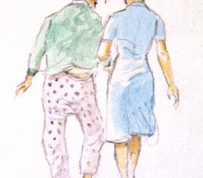 Painting of back of nurse with patient walking