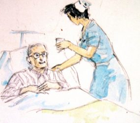 Painting of nurse handing patient in bed some medicine