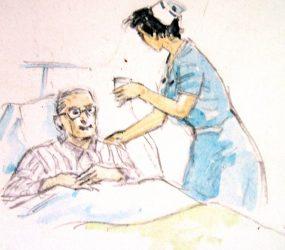 Painting of nurse handing patient in bed some medicine
