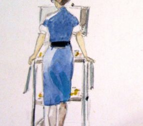 Nurse painted from behind with drug trolley
